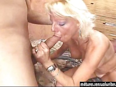 Sexy blonde mature fucks younger guy