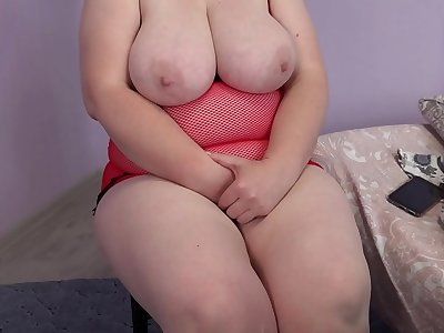 Mature bbw masturbates in sex chat. Bandaged big tits, masturbation of a hairy pussy in panties. Fetish entertainment in front of a webcam.