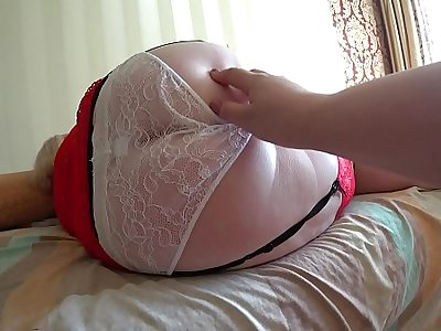 Girlfriend fucked mature milf with fat ass in white panties. Lesbians POV.