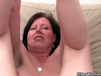 British mom Julie with her big tits and hairy pussy gets finger fucked