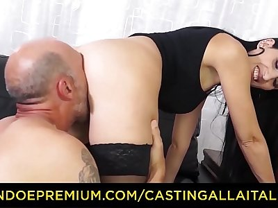 CASTING ALLA ITALIANA – Naughty MILF Luna Dark in stockings nailed in both holes