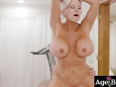 Watch an intense fuck massage with this hot mature masseuse Sally D Angelo and her handsome client Jake Adams.
