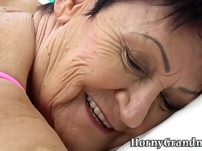 Grandmas mouth jizzed