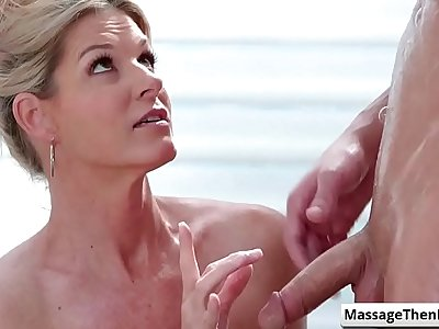 Horny blonde milf suck fat dick after giving sex massage to her horny client