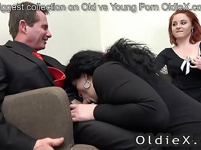 senior house owner enjoy old and young threesome